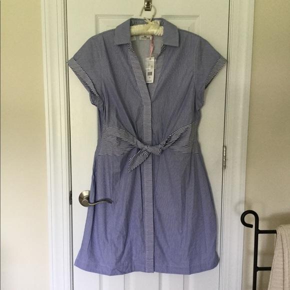 Vineyard Vines Dresses & Skirts - NWT Vineyard Vines Stripe Tie Front Shirt Dress